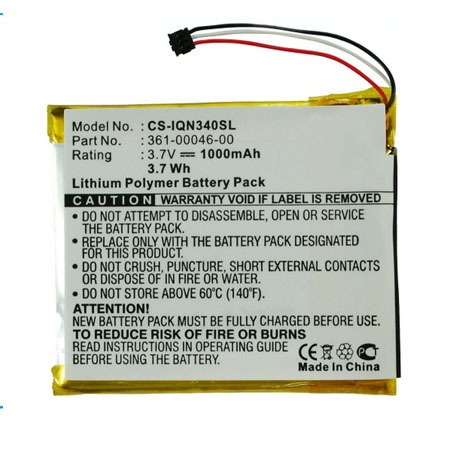 1000mAh Replacement Battery for Garmin Nuvi 3400 3490LMT 3450 3550LM CS-IQN340SL 361-00046-00