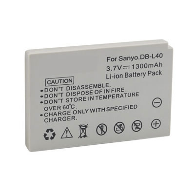 3.70V 1300mAh Replacement DB-L40/40AEX/40AU Battery for Sanyo VPC-HD700 Xacti DMX-HD1 HD2 HD700 HD80